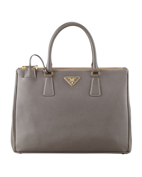 Saffiano Double-Zip Executive Tote Bag, Gray (Argilla)
