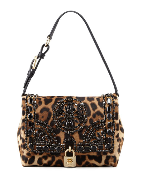 Miss Dolce Leopard-Print Calf Hair Shoulder Bag