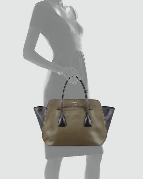 Bicolor Soft Calfskin Tote Bag, Green/Black (Military+Nero)