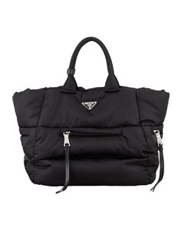 Prada Tessuto Bomber Horizontal-Zip Tote Bag, Black