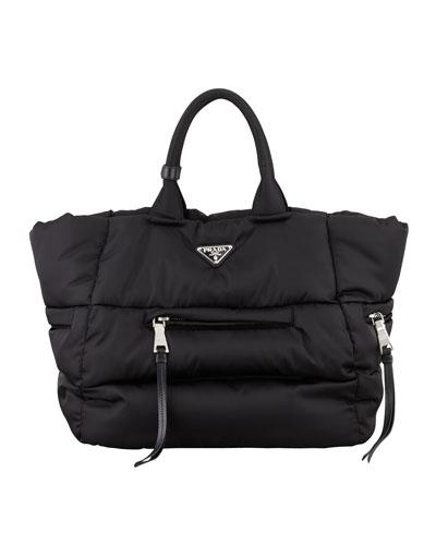 Prada Tessuto Bomber Horizontal-Zip Tote Bag, Black (Nero)