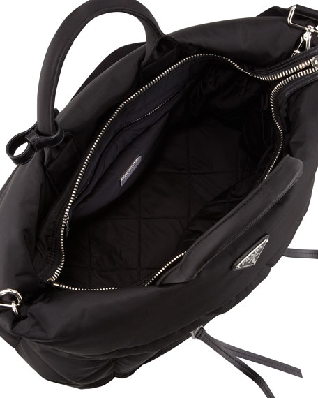 Tessuto Bomber Diagonal-Zip Tote Bag, Black (Nero)