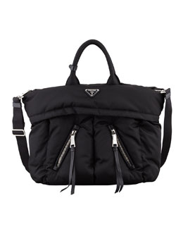 Prada Tessuto Bomber Diagonal-Zip Tote Bag, Black (Nero)