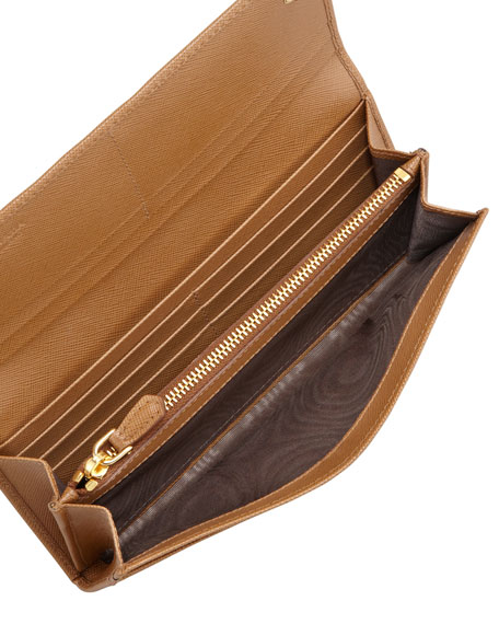 a44523f864f08d Prada Saffiano Triangle Continental Flap Wallet, Brown (Caramel)