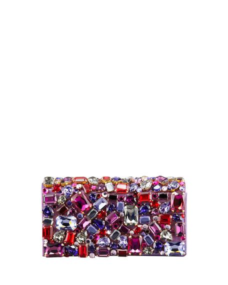 Jeweled Satin Clutch Bag, Purple