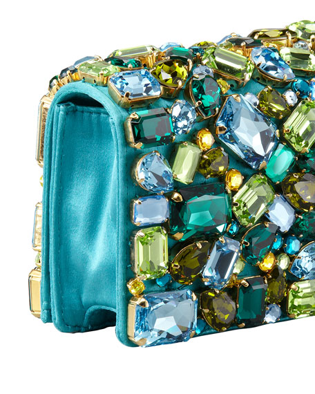 Prada Jeweled Satin Clutch Bag, Turquoise (Pavonne)