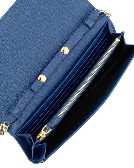 1afd7a1c066e Prada Saffiano Wallet on a Chain, Blue (Bluette)