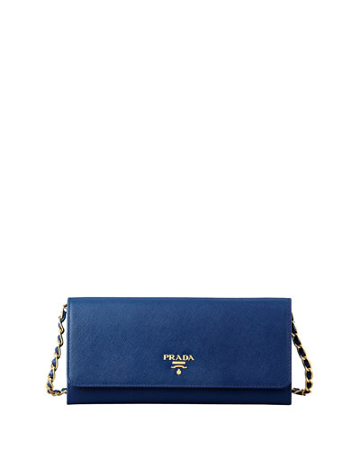 Prada Saffiano Wallet on a Chain, Blue (Bluette)
