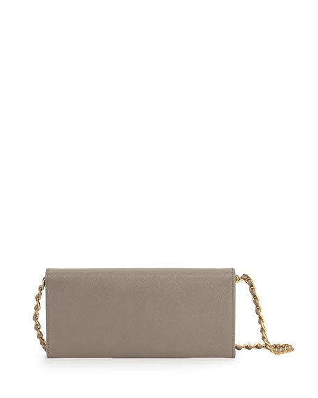 prada inspired handbags - Prada Saffiano Wallet on a Chain, Gray (Argilla)