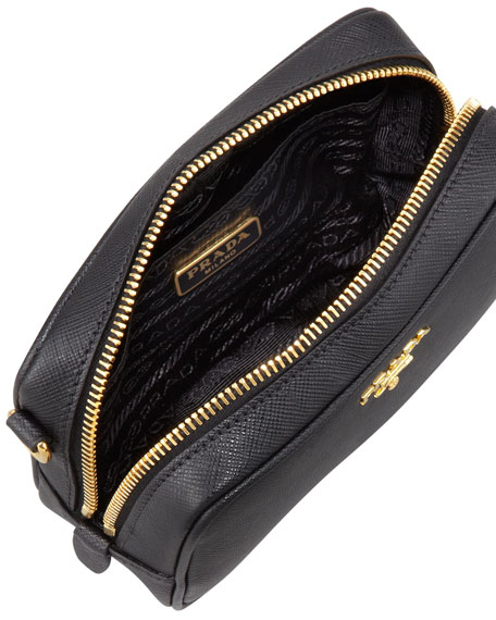 Image 2 of 3: Saffiano Mini Zip Crossbody Bag, Black (Nero)