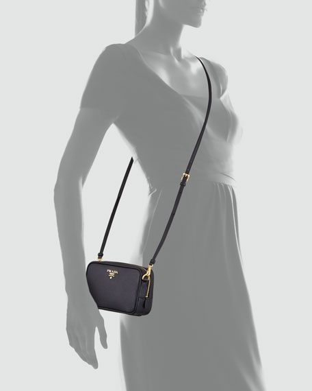Image 3 of 3: Saffiano Mini Zip Crossbody Bag, Black (Nero)