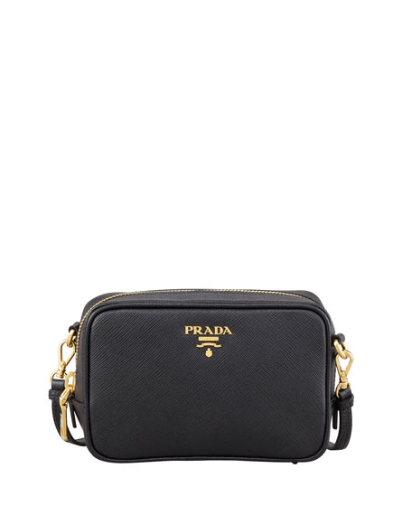 fe34b500e451 ... switzerland prada saffiano mini zip crossbody bag black nero neiman  marcus 6a9a9 6b05d