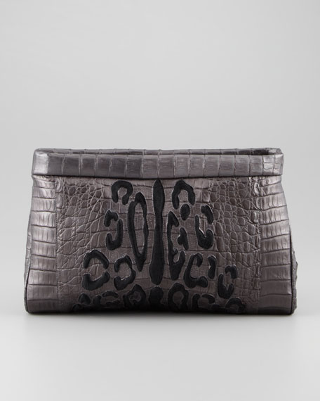 Leopard-Patterned Calf Hair Crocodile Clutch, Gray