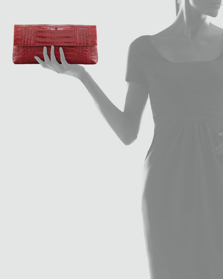 Gotham Crocodile Flap Clutch Bag, Red