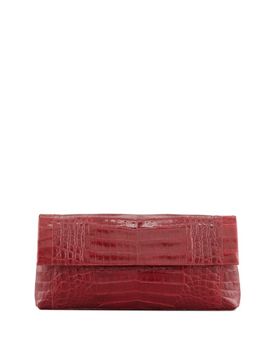 Soft Flap Crocodile Clutch Bag, Red