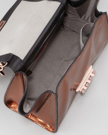 Eartha Full-Flap Satchel Bag, Black/Bronze