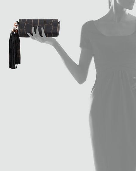 Claudette Croc-Embossed Tassel Clutch, Black