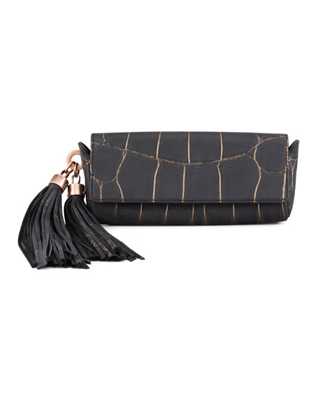 Claudette Croc-Embossed Tassel Clutch, Black