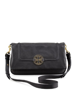 Tory Burch Amanda Fold-Over Messenger Bag, Black