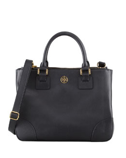 Tory Burch Robinson Double Zip-Pocket Tote Bag, Black