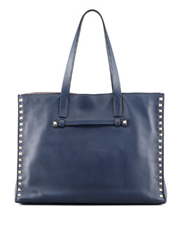 Valentino Rockstud Shopping Tote Bag, Navy