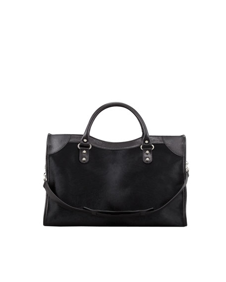 Classic Calf Hair City Bag, Black