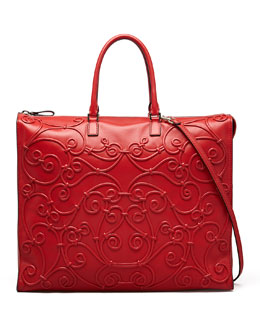 Valentino Intricate Soutache Tote Bag, Red
