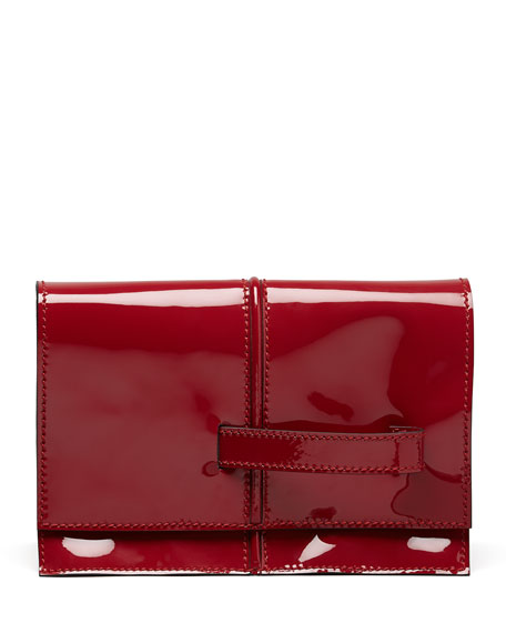 Dual Patent Runway Clutch Bag, Scarlet