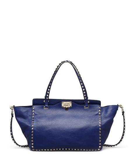 Rockstud Medium Tote Bag, Blue