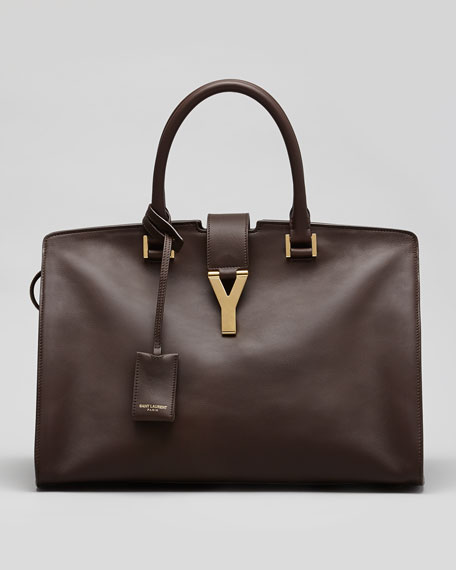 Y-Ligne Large Classic Cabas Calf Carryall Bag, Dark Brown
