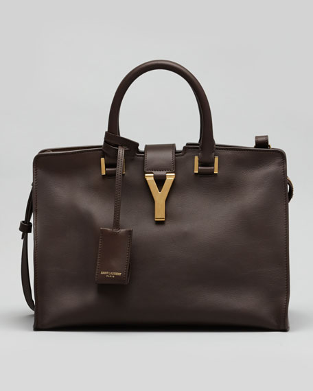 Y-Ligne Cabas Mini Leather Bag, Dark Brown