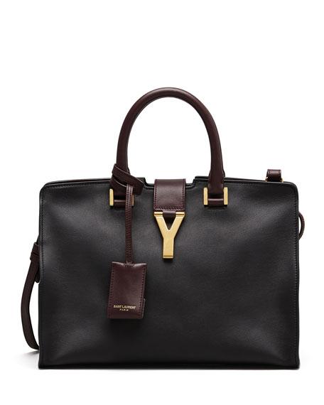 Y-Ligne Cabas Mini Bicolor Leather Bag, Black/Red