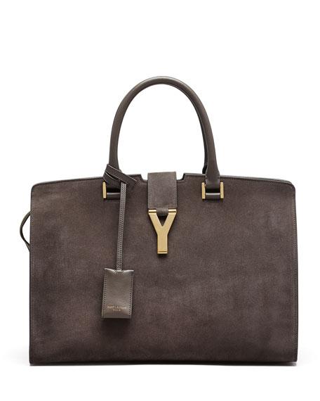 Y-Ligne Cabas Large Suede Carryall Bag, Gray