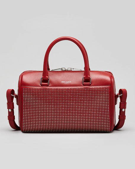 3 Hour Studded Crossbody Duffel Bag, Red
