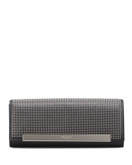 Lutetia Studded Leather Clutch Bag, Gunmetal