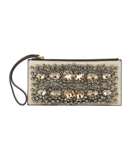 Marni Crystal-Embroidered Wristlet Pochette