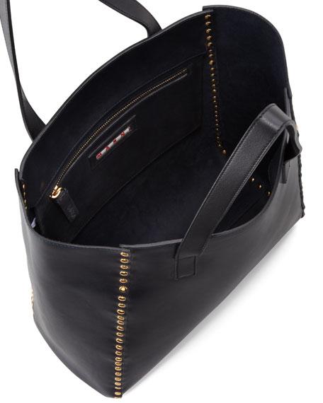 Studded Shopper Tote Bag, Deep Blue