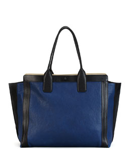 Chloe Alison East-West Colorblock Tote Bag, Navy