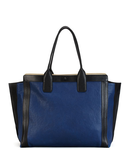 Alison East-West Colorblock Tote Bag, Navy