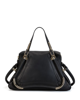 Paraty Medium Bar-Trim Shoulder Bag, Black