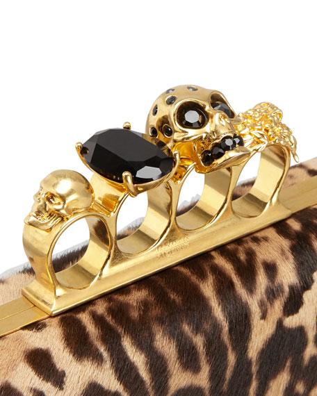 Leopard-Print Calf Hair Knuckle-Duster Box Clutch Bag