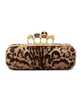 Alexander McQueen Leopard-Print Calf Hair Knuckle-Duster Box Clutch Bag