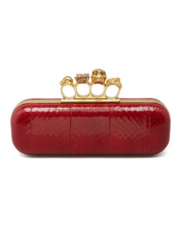 Alexander McQueen Knuckle-Duster Snakeskin Box Clutch Bag, Ruby