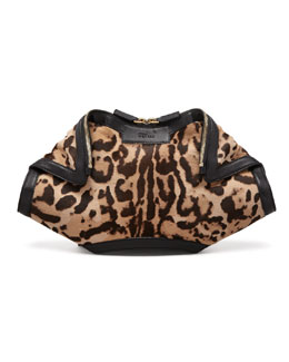 Alexander McQueen De-Manta Leopard-Print Calf Hair Clutch Bag