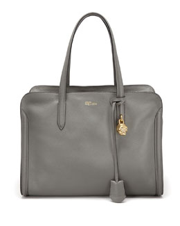 Alexander McQueen New Skull Padlock Zip-Around Tote Bag, Dark Gray