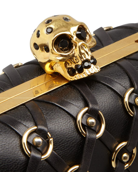 Leather Net Skull-Clasp Clutch Bag with Strap