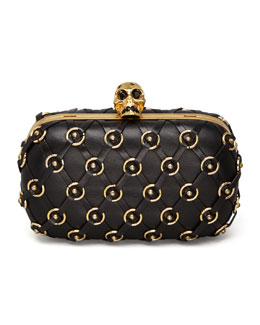 Alexander McQueen Leather Net Skull-Clasp Clutch Bag with Strap