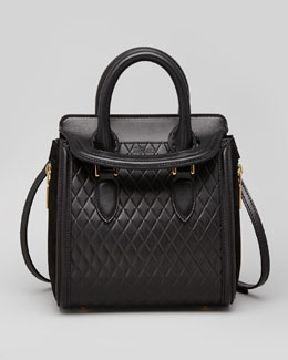 Alexander McQueen Heroine Mini Quilted Satchel Bag, Black
