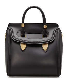 Alexander McQueen Heroine Medium Satchel Bag, Black