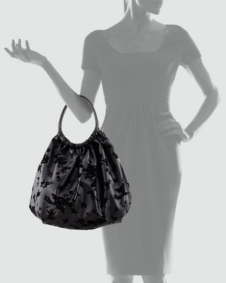 Rose Flocked Leather Hobo Bag, Black